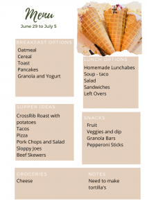 Meal plan template with a variety of different meals.