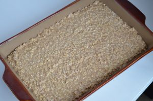 9x13 pan with oatmeal all ready to go into the oven.