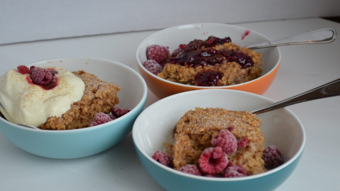 3 bowls of yummy baked oatmeal