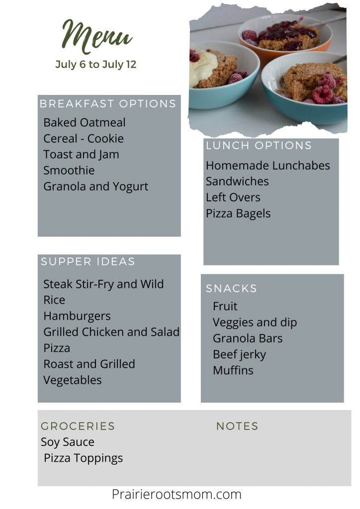 A 7 day meal plan with breakfast, lunch and supper options as well as snack.