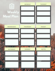 7 day meal plan, with breakfast, lunch and supper listed,