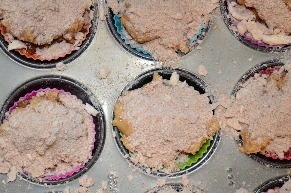 Crumble poured on top of muffins, Little bits of crumble all over the pan.